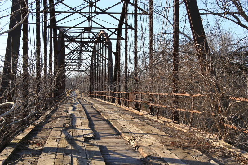 Old Bridge out side Oolagah Oklahoma. Built in 1909 by Canton Bridge Company, it spans the Verdigris River north of Oologah Wildlife Area in Nowata County royalty free stock images