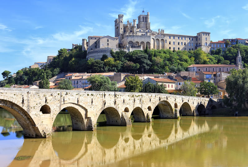 The Old Bridge and Saint Nazaire Cathedral royalty free stock photo