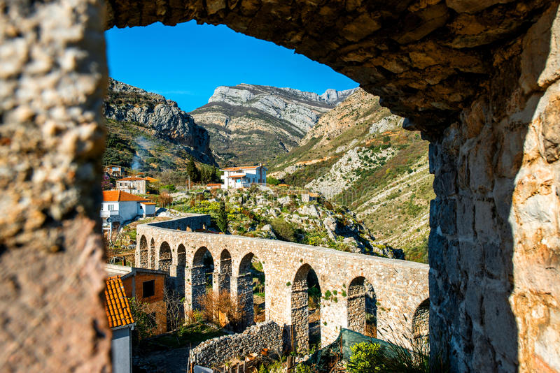 Old Bridge in Stari Bar. Montenegro. View from the fortess stock images