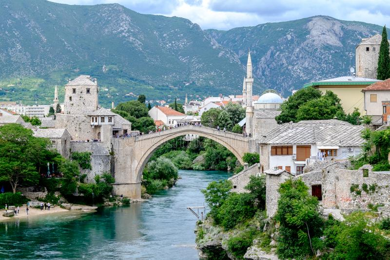 Old bridge Stari Most view, Mostar, Bosnia and Herzegovina stock image