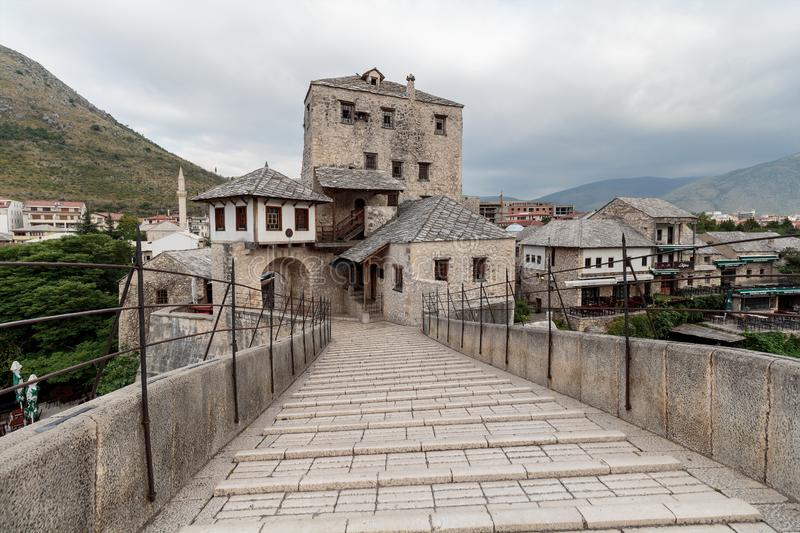 The Old Bridge `Stari Most`. It was built in 1557 by Ottomans. Old Bridge is inscribed on World Heritage List by UNESCO in 2005 royalty free stock photography