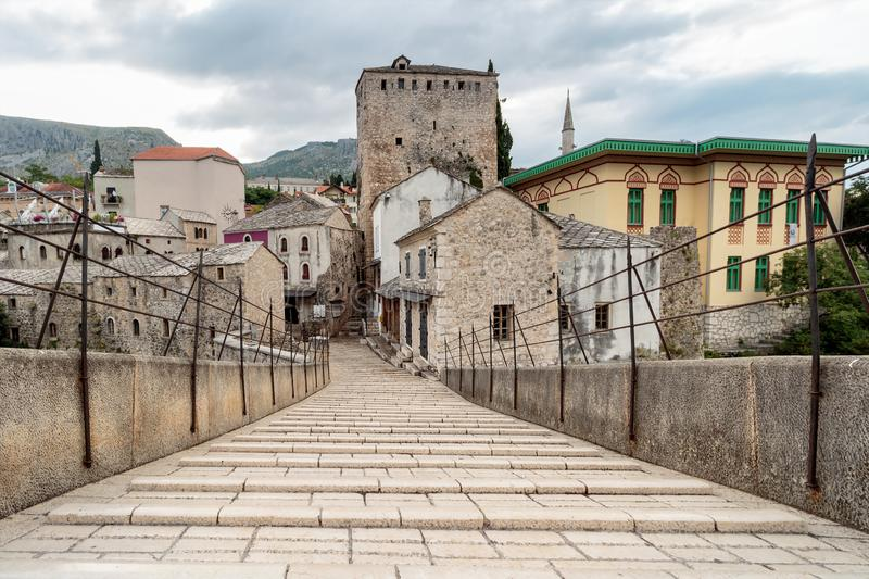The Old Bridge `Stari Most`. It was built in 1557 by Ottomans. Old Bridge is inscribed on World Heritage List by UNESCO in 2005 stock image