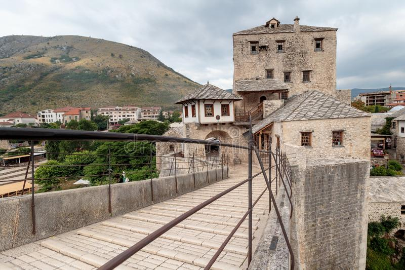 The Old Bridge `Stari Most`. It was built in 1557 by Ottomans. Old Bridge is inscribed on World Heritage List by UNESCO in 2005 royalty free stock photos