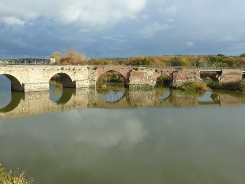Old bridge in Talavera de la Reina, Spain. View of Tagus river crossing an old bridge in Talavera de la Reina, Spain stock image