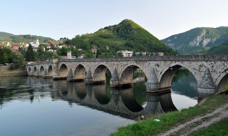 Old bridge in Visegrad. Mehmed Pasha Sokolovic bridge in Visegrad at Drina river, Bosnia And Herzegovina stock photos
