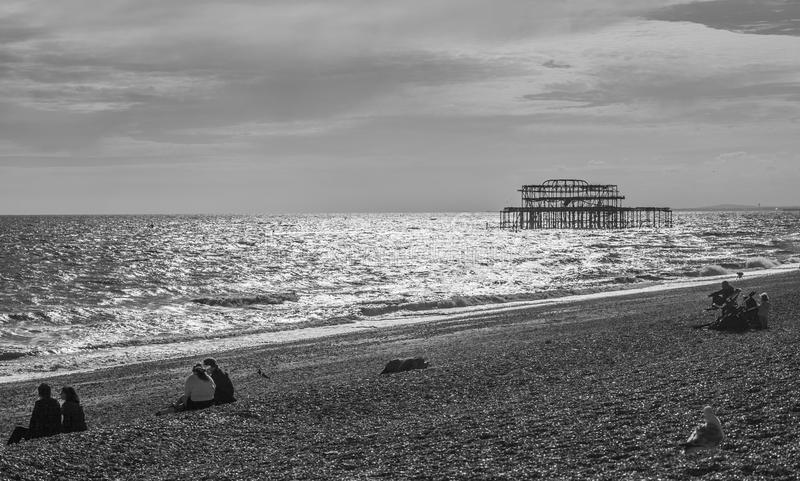 Download the old brighton pier in black and white people chilling on the beach
