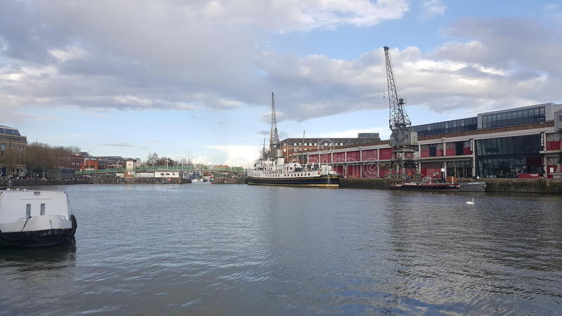 Old Bristol Docks and Cranes royalty free stock photos