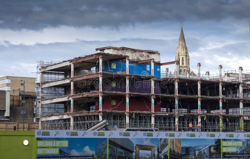 Old Broadmarsh bus depot, car park and shopping centre under demoliton, Nottingham, Nottinghamshire, UK - 3rd April 2018 royalty free stock photos