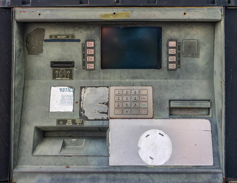 Old broken ATM. Stock photo of old broken ATM royalty free stock images