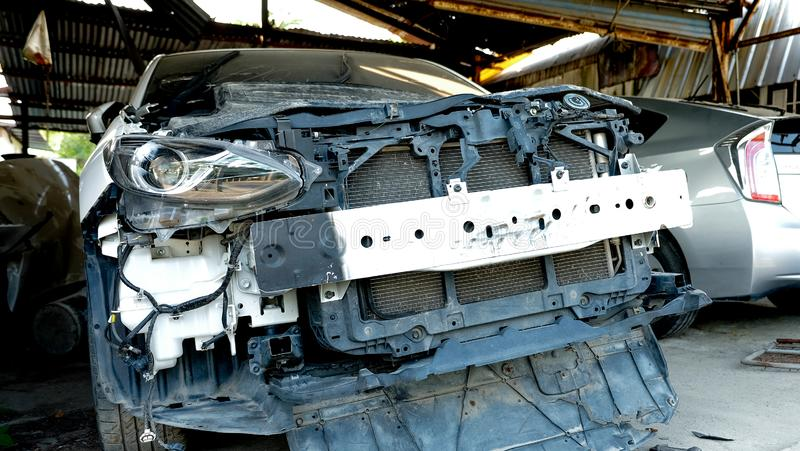 The old broken car. In garage for waiting repair royalty free stock images