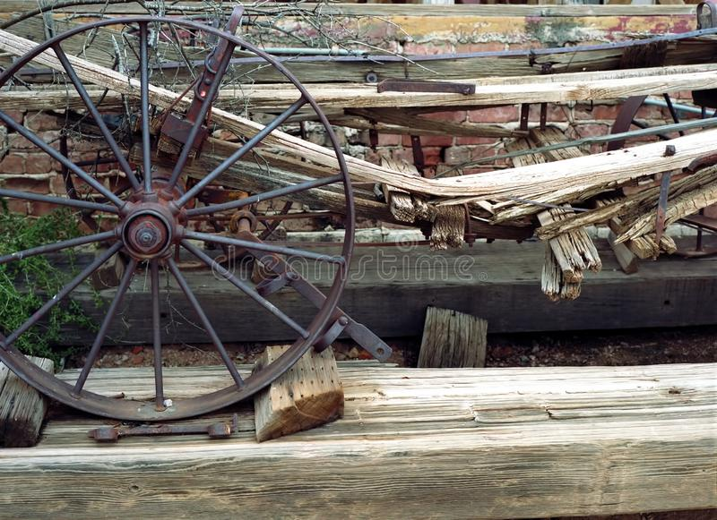 Old broken down wooden wagon stock images