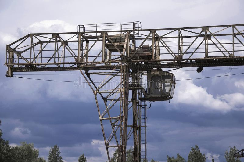 Old, broken gantry crane. Concept: industrial depression stock photo