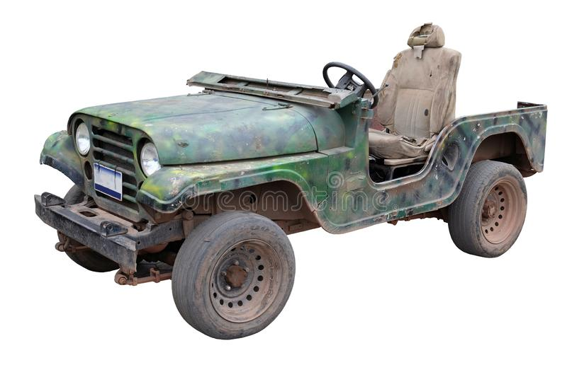 Old broken green army jeep, white background, isolated. Old broken green army jeep, isolated stock images