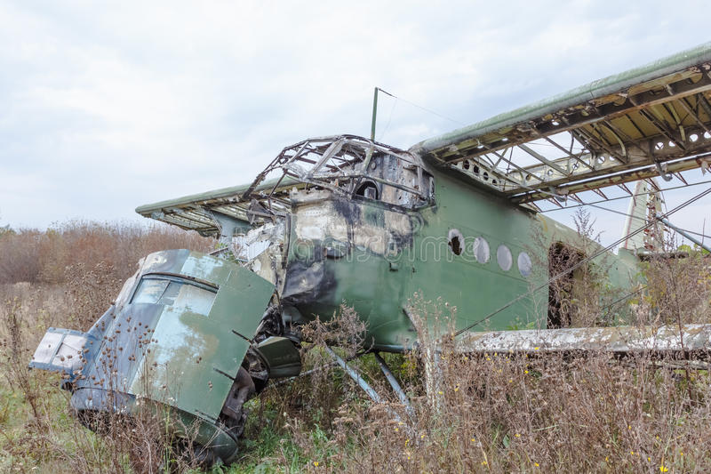 Old broken green russian airplane stock image