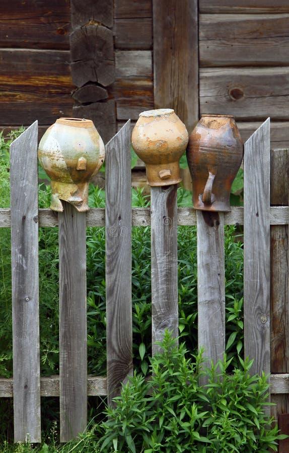 Old broken jars stock photo
