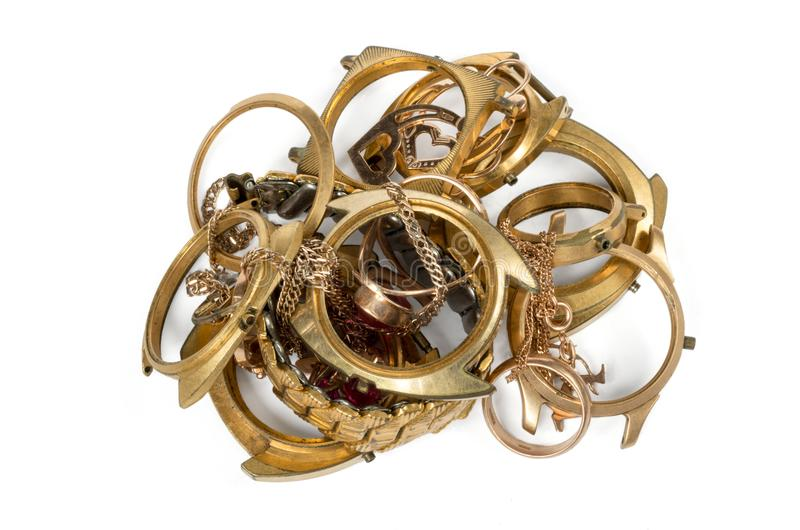Old and broken jewelry, watches of gold stock photo