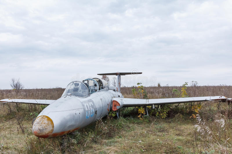 Old broken military russian airplane royalty free stock image