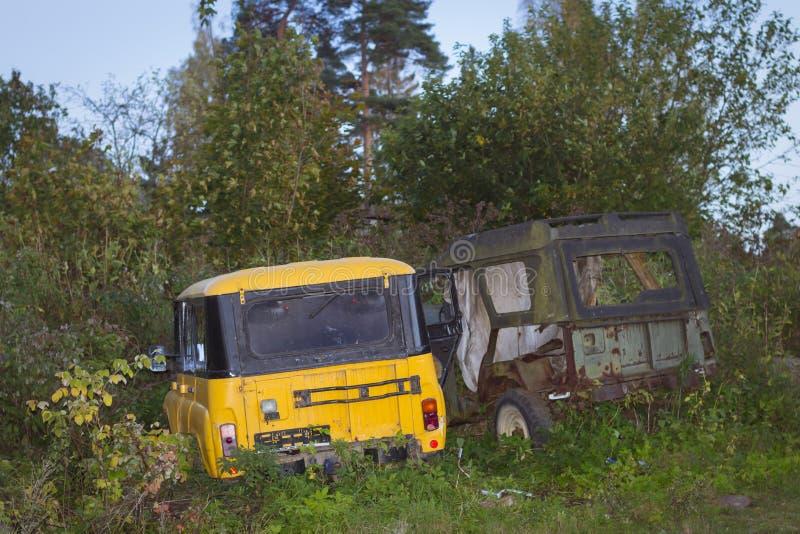 Old broken off-road cars UAZ royalty free stock photos