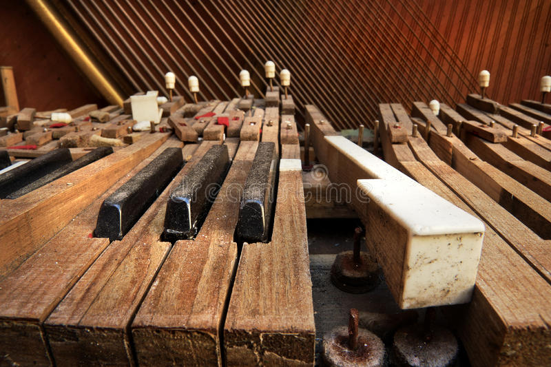 Old broken piano stock photography