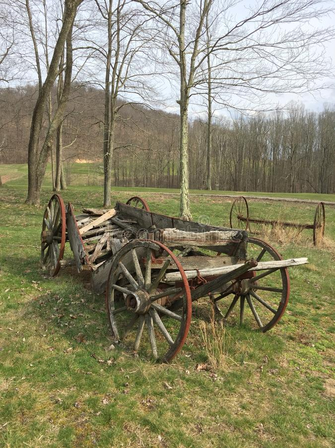 Old broken wagon stock image