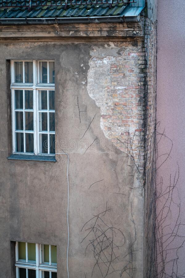Broken wall in Berlin, Germany. Old and broken wall in Berlin, Germany stock images