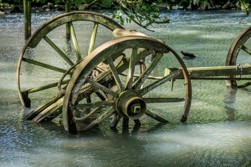 Old broken wooden wagon royalty free stock image
