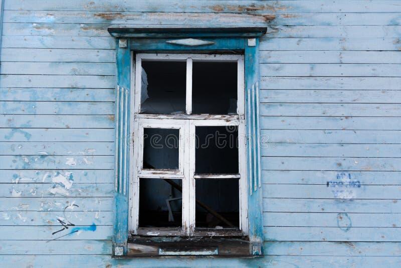 Old broken wooden window stock photography