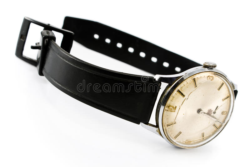 Download Old Broken Wristwatch With Black Strap Stock Photo - Image: 23469672