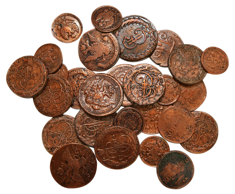 Old bronze coins of XIX century isolated royalty free stock images
