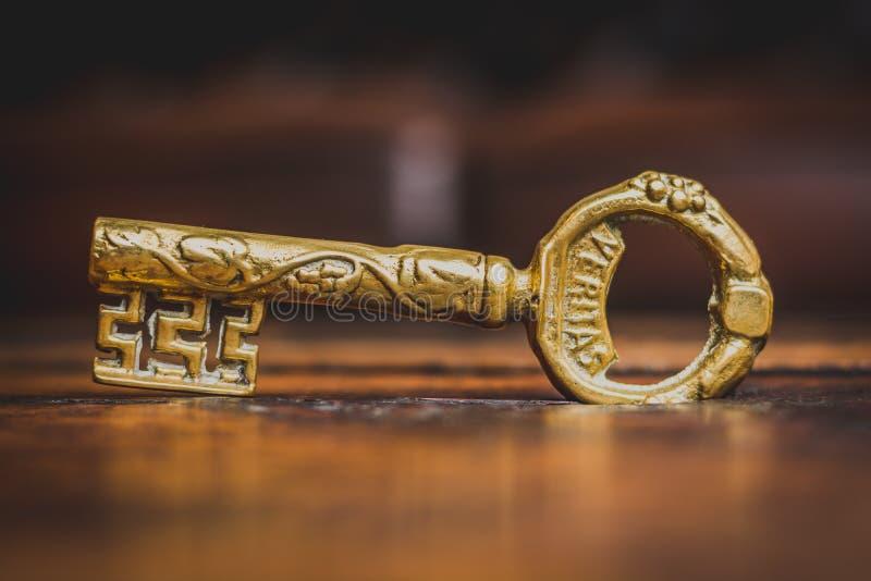 Old bronze key stock image