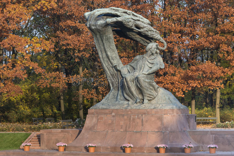 Old bronze monument of Chopin in Lazienki park in Warsaw. During Autumn time stock images