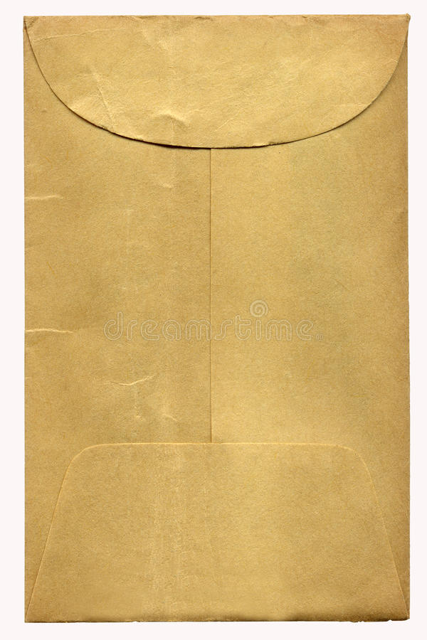 Old Brown Envelope. Old brown mailing envelope with glue flap royalty free stock photo
