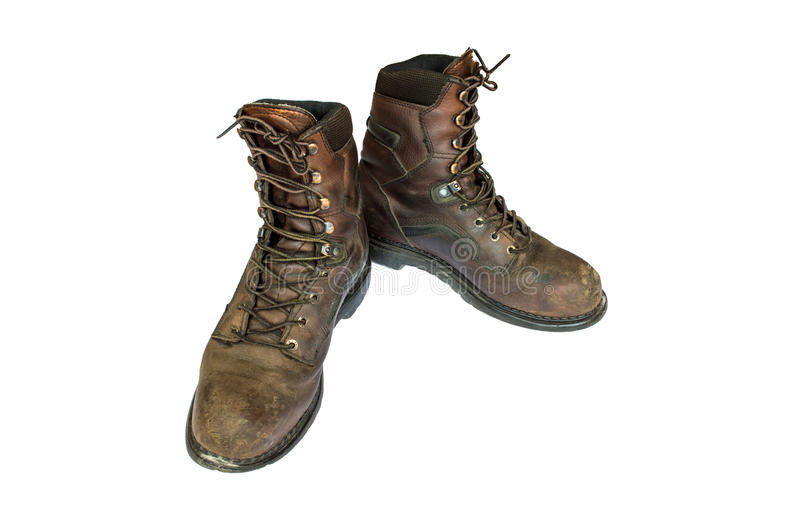 Old brown leather men's boots. stock images
