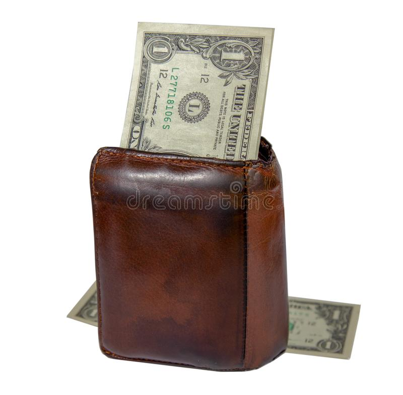Old brown leather wallet for men and banknote one dollar royalty free stock photography
