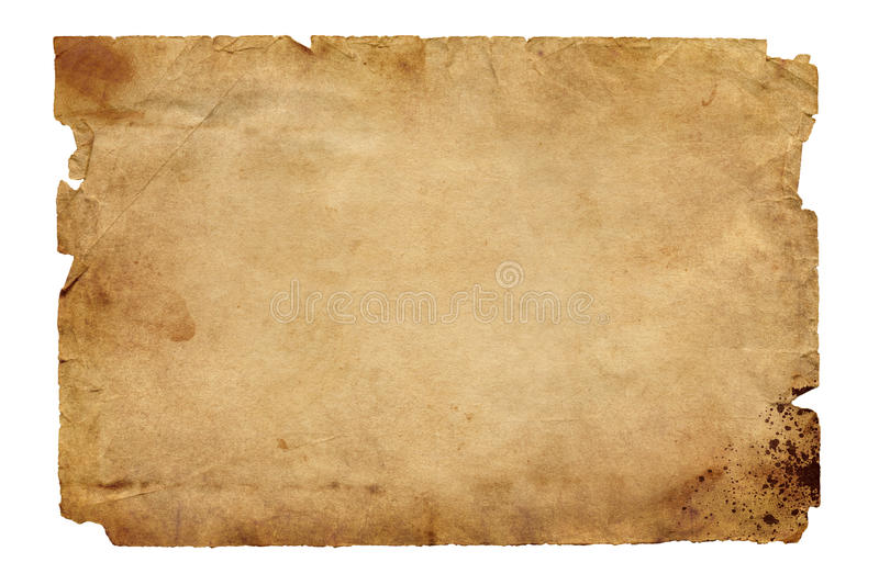 Old brown paper. Old brown textured paper with blood splatters and damaged edges isolated on white background stock image