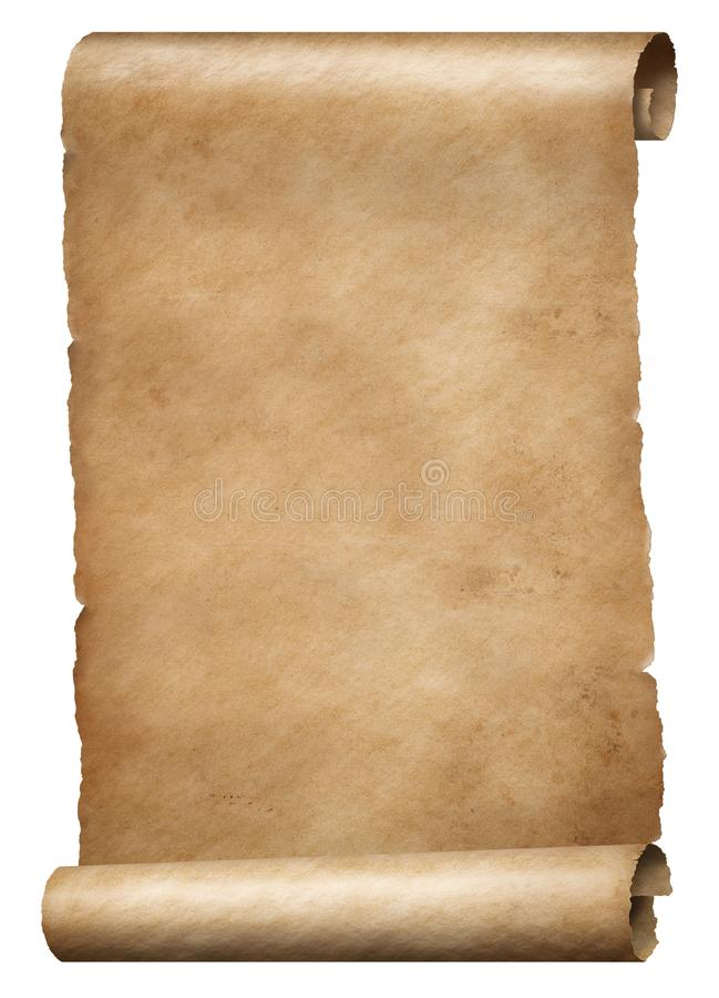Old brown parchment king`s order scroll isolated on white stock images