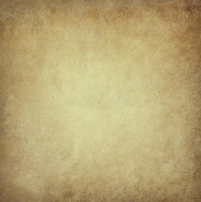 Old brown parchment paper background with yellowed vintage grunge texture borders and light center with distressed faded antique stock photos