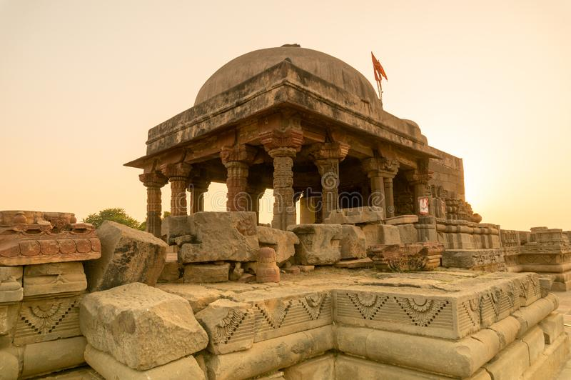 Old stone temple at Abhaneri shot at dusk royalty free stock photo