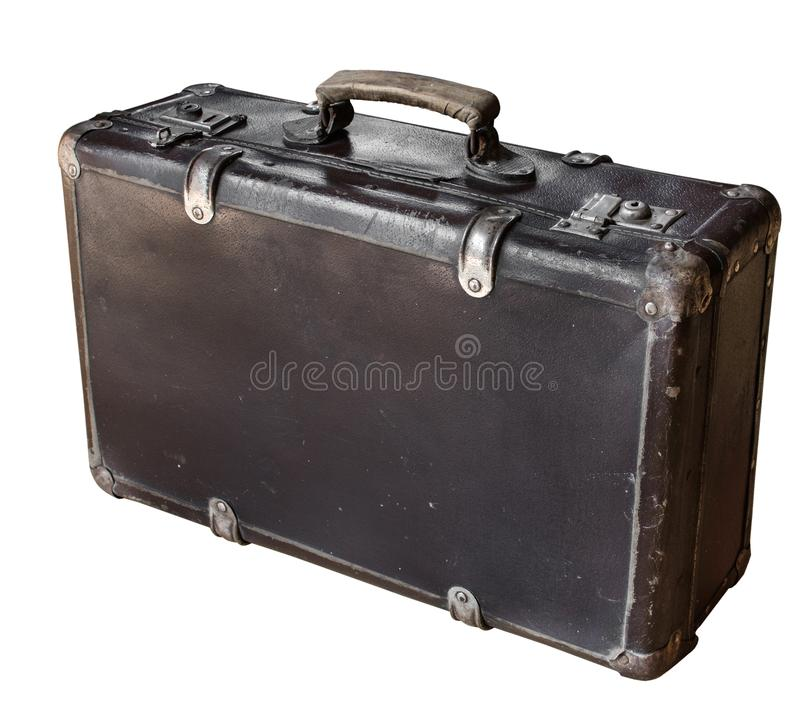 Old brown suitcase isolated on white background. Retro style. Copy space. Old items in rustic style royalty free stock photo
