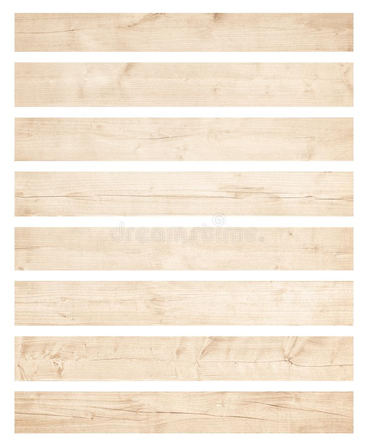 Old brown wooden planks isolated on white background stock images