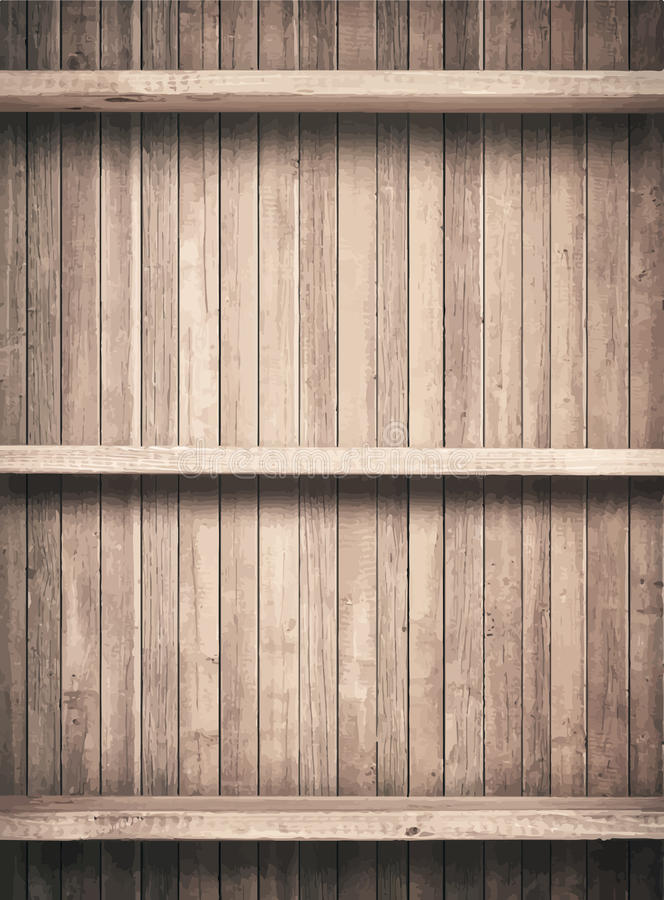 Old brown wooden planks texture with shelfs stock illustration