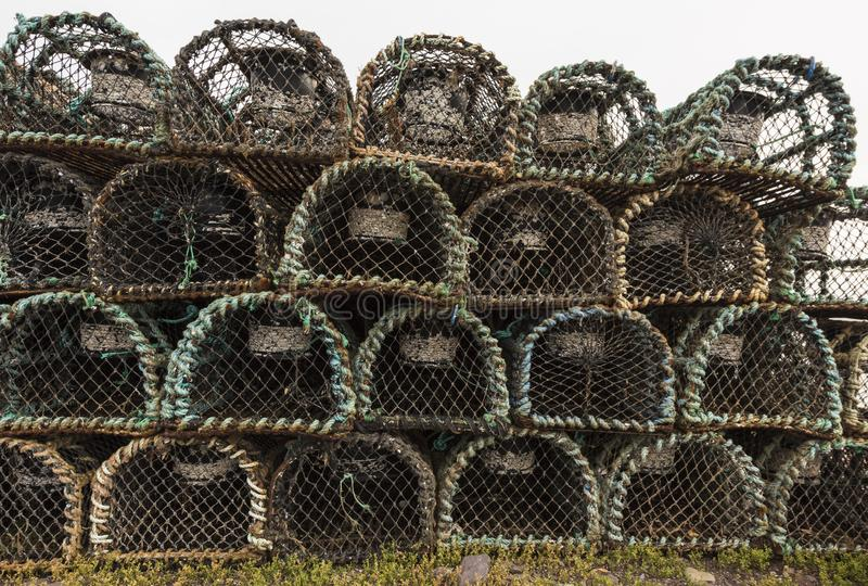Old brownish cages for lobster and crab fishing, Dingle, Ireland. Europe stock photo