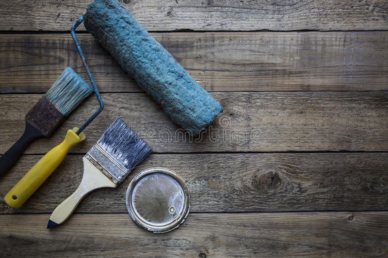 Old brush on the wooden table royalty free stock photography