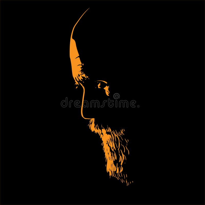 Old Brutal Man with beard. Portrait silhouette in backlight. Vector. vector illustration