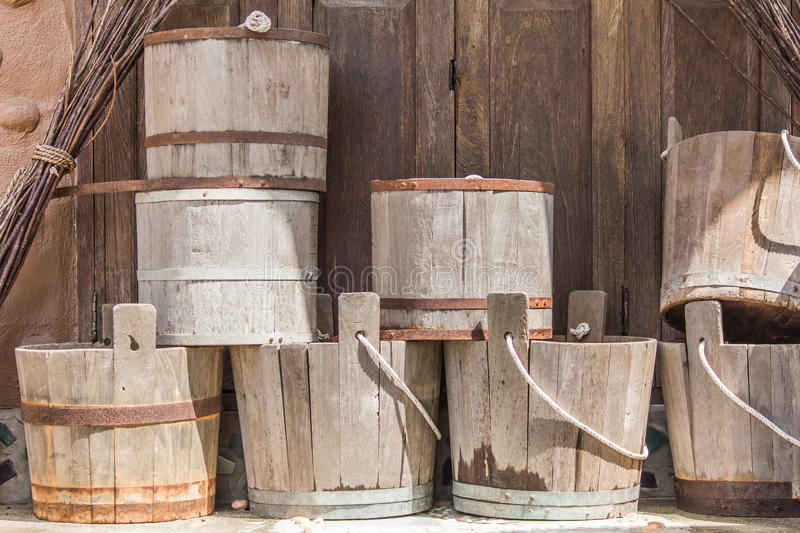 Old Bucket. The old wood pail for water stock photography