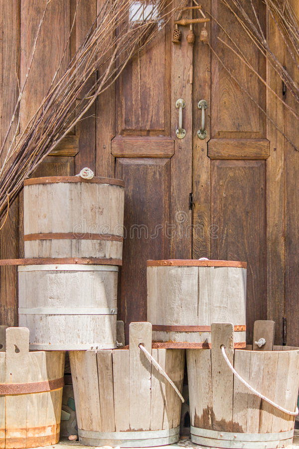 Old Bucket. The old wood pail for water stock photo