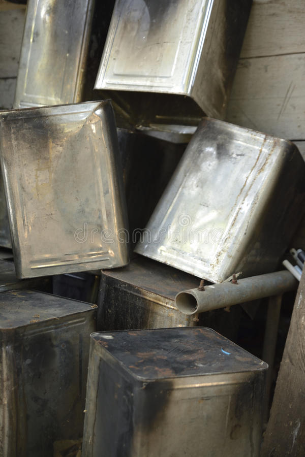 Old buckets. The old buckets that can be recycled royalty free stock photo