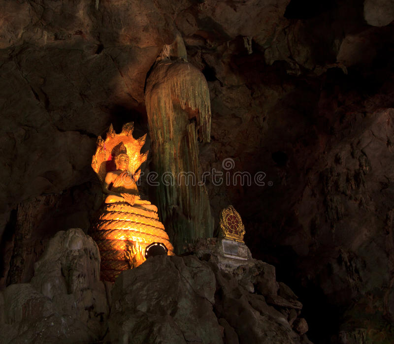 Old Buddha In A Cave Royalty Free Stock Photography