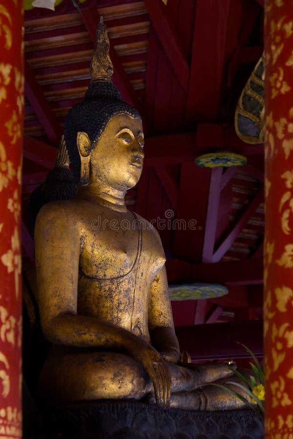Old buddha image in Wat Pong Sanuk Tai Temple, Lampang province, Thailand royalty free stock images