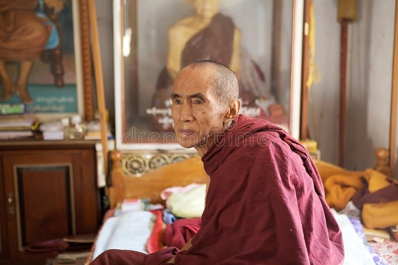 Old Buddhist monk in Bagan, Myanmar stock images